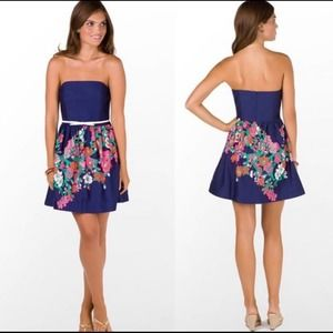 Lilly Pulitzer Lottie Navy/Floral Strapless Dress